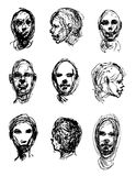 Set of drawing heads Royalty Free Stock Photo