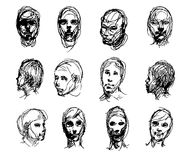 Set of drawing heads Royalty Free Stock Image