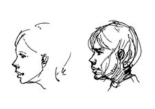 Set of drawing heads Stock Image