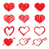 Set of  drawing hearts Stock Images