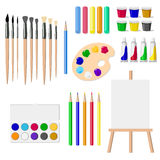 A set of drawing tools: an easel, paints, brushes, pencils, crayons, isolated objects on white background vector illustration. Painter tools isolated on white stock illustration