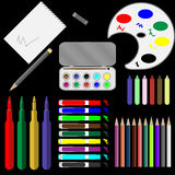 Set of drawing tools Royalty Free Stock Photo