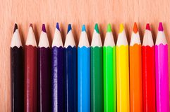 Set of drawing tools on wooden background. Color pencils  on desk Royalty Free Stock Image