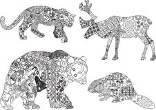 A set of drawings of animals in the ethnic. Four animals from different countries in ethnic patterns Royalty Free Stock Photography