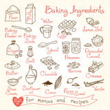 Set drawings of baking ingredients for design stock photo