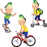Set drawings boy on a bicycle, skateboard, scooter Stock Photography