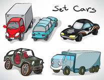 Set of drawings of cars Royalty Free Stock Photos