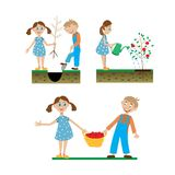 A set of drawings of children working in the garden Stock Images