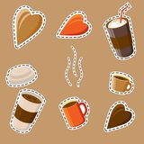 A set of drawings on the coffee theme in the cartoon style. Coff. A set of elements for design. Coffee cups, glasses, steam. Drawings in the cartoon style Royalty Free Stock Images