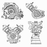 Set of drawings of engines - motor vehicle internal combustion engine, motorcycle, electric motor and a rocket. It can Royalty Free Stock Photos