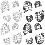 Set of drawings with footprints of shoes. Isolated vector objects on white background. Seamless patterns stock illustration