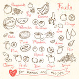 Set drawings of fruit for design menus, recipes Royalty Free Stock Photo