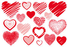 Set drawings heart. Set simple drawings heart symbols Stock Images