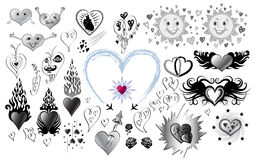 Set of drawings with hearts Royalty Free Stock Photo