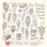 Set drawings of ice cream for design menus Stock Photo