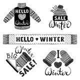 Set drawings knitted woolen clothing and footwear. Sweater, hat, mitten, boot, scarf, lettering. Winter sale shopping Stock Photo