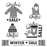 Set drawings knitted woolen clothing and footwear. Sweater, hat, mitten, boot, scarf, lettering. Winter sale shopping Royalty Free Stock Image