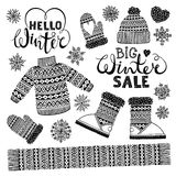 Set drawings knitted woolen clothing and footwear. Sweater, hat, mitten, boot, scarf, lettering. Winter sale shopping Stock Photos