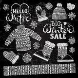 Set drawings knitted woolen clothing and footwear. Sweater, hat, mitten, boot, scarf, lettering. Winter sale shopping Royalty Free Stock Photo