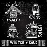 Set drawings knitted woolen clothing and footwear. Sweater, hat, mitten, boot, scarf, lettering. Winter sale shopping Stock Photography