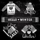 Set drawings knitted woolen clothing and footwear. Sweater, hat, mitten, boot, scarf, lettering. Winter sale shopping Stock Images