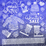 Set drawings knitted woolen clothing and footwear. Sweater, hat, mitten, boot, scarf, lettering. Winter sale shopping Royalty Free Stock Images