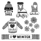 Set drawings knitted woolen clothing and footwear. Sweater, hat, mitten, boot, scarf with patterns, snowflakes. Winter Royalty Free Stock Image