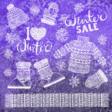 Set drawings knitted woolen clothing and footwear. Sweater, hat, mitten, boot, scarf with patterns, snowflakes. Winter Stock Images