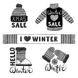 Set drawings knitted woolen clothing and footwear. Sweater, hat, mitten, boot, scarf with patterns. Winter sale shopping Royalty Free Stock Photo