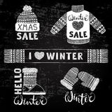 Set drawings knitted woolen clothing and footwear. Sweater, hat, mitten, boot, scarf with patterns. Winter sale shopping Stock Images