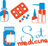 Set of drawings with medicines Royalty Free Stock Photo