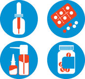 Set of drawings with medicines Royalty Free Stock Image
