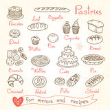 Set drawings of pastries and bread for design Stock Photo