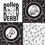 Set of drawings and seamless patterns on the theme of roller der Royalty Free Stock Photography