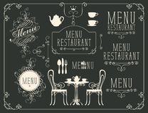 Set of drawings on the theme of restaurant menu Royalty Free Stock Photo