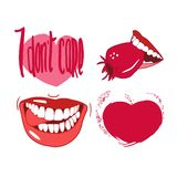 Set of drawings in vector, red, smiles, lips, hearts, for Valentine`s Day stock illustration
