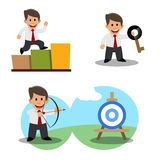 A set of drawings of a young businessman. Achieving the goal. Success. The solution of the problem Royalty Free Stock Photos