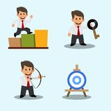 A set of drawings of a young businessman. Success. Achieving the goal. The solution of the problem. Stock Photos