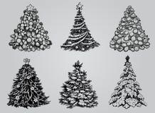 Set of Drawn Christmas Trees. Royalty Free Stock Photo