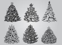 Set of Drawn Christmas Trees. Royalty Free Stock Image