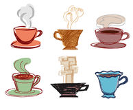 Set Of Drawn Cups Stock Image