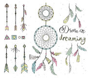 Set of drawn feathers, dream catcher, beads, geometric elements, royalty free stock images