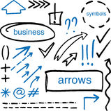 Set of drawn by hand arrows, frames and symbols Stock Images
