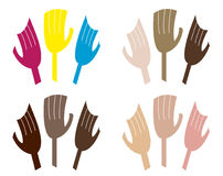 Set of Drawn Hands Stock Image