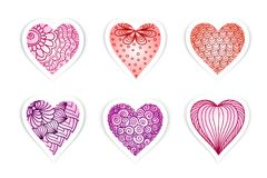 Set of  drawn  hearts  with flowers and plants for Valentine`s Day, weddings, Mother`s Day. For design Stock Images