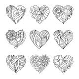 Set of  drawn  hearts with flowers and plants for Valentine`s Day or weddings. For design Stock Images
