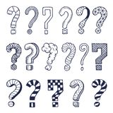 Set of drawn question marks in different styles. Vector doodles stock illustration
