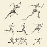 Set drawn running man healthy vector sketch Royalty Free Stock Photography