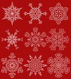 Set of drawn snowflake silhouettes Stock Image