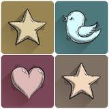 Set of drawn star icon Royalty Free Stock Photo